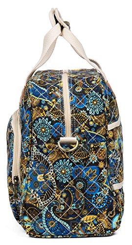 Malirona Canvas Overnight Bag Women Weekender Bag Carry On Travel Duffel Bag Floral (Black Flower) by Malirona (Image #3)