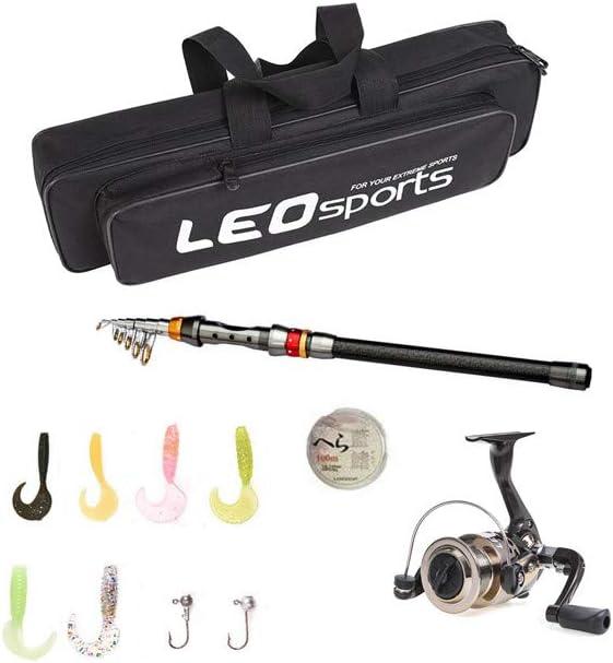 Carbon Fiber Telescopic Fishing Rod and Reel set Combo Hooks Bait Lure Bag