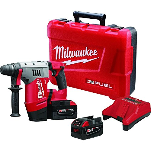 Milwaukee M28 FUEL 28-Volt Lithium-Ion Brushless Cordless 1-1/8 in. SDS Plus Rotary Hammer Kit w/(2) 3.0Ah Batteries 28v Cordless Hammer Drill