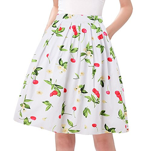 Taydey 50's Swing Retro Pleated Skirt Bubble Style Size 2XL Whiteberry (Very Cherry Bubble)