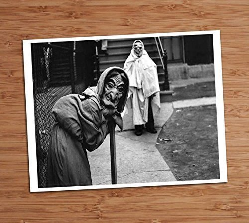 Creepy Cute Kids Trick or Treating Costume Photo Vintage Art Print 8x10 Wall Art Halloween Decor