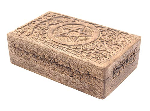 DharmaObjects Pentagram Star Carved Jewelry Trinket Keepsake Wooden Storage Box (Pentagram, Large) from DharmaObjects