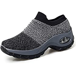 HKR Womens Slip On Platform Sneakers Breathable Athletic Sports Walking Running Jogging Toning Shoes Grey 9(ZJW1839huise41)
