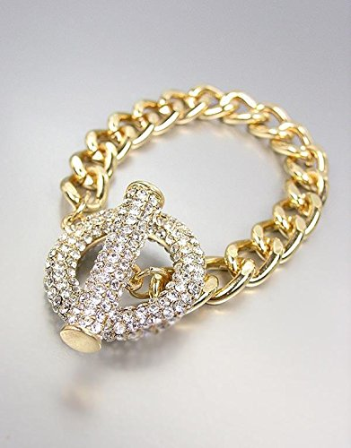 (GORGEOUS GLITZY Bebe Lovely Gold Pave CZ Crystals Ring Toggle Chain Bracelet)