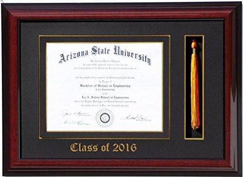 Diploma Tassel Frame 11x8.5 Brandy 2016 (Customizable)