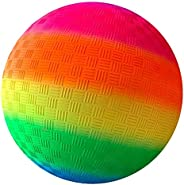 Yummoo Nonslip Rainbow Ball,8.5 Inch Rainbow Playground Ball for Kids, Soft PVC Bouncy Kick Ball for Backyard