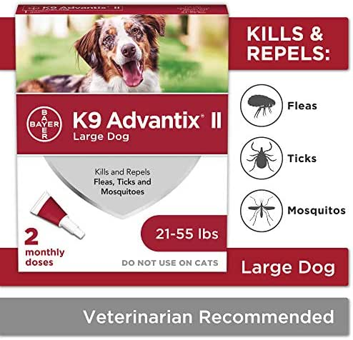 Flea and tick prevention for dogs, dog flea and tick treatment, 2 doses for dogs 21-55 lbs, K9 Advantix II