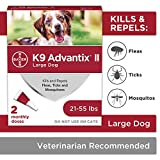 K9 Advantix II Flea And Tick Prevention for Dogs, Dog Flea And Tick Treatment For Large Dogs 21-55 lbs, 2 Monthly Applications