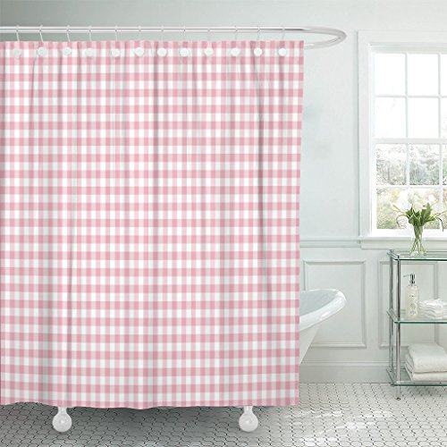 Emvency Shower Curtain Colorful Abstract Pink Gingham Pattern