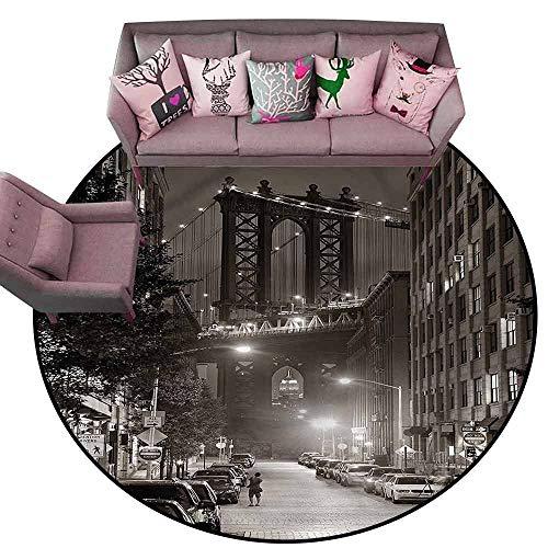Thin Non-Slip Kitchen Bathroom Carpet Colorful Urban,Manhattan Bridge at Night Diameter 72