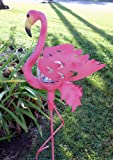 Pink Flamingo Garden Stake Glass Crackle Solar Light