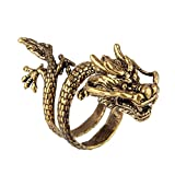 Bewish Men's Vintage Gothic Punk Rock Chinese Dragon Claw Gold Copper Adjustable Opening Ring