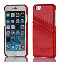 iPhone 6 Case Back Cover WIITOP Cell Phone Cases High-grade Litchi Pattern Genuine Leather with Double Credit Card Slot Red