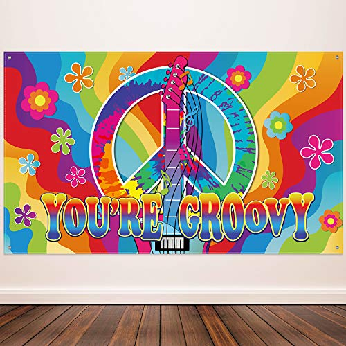 60's Theme Party Decorations, Groovy Sign 60's Party Scene Setters Wall Decoration 60s Photo Backdrop Banner with Rope for Hippie Theme Groovy Party, 72.8 x 43.3 ()