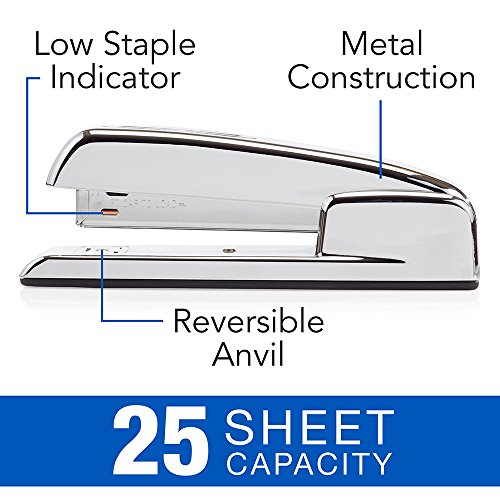 Swingline Stapler, 747 Iconic Desktop Stapler, 25 Sheet Capacity, Chrome (74720)
