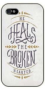 iPhone 5C Bible Verse - Vintage. He heals the broken hearted - black plastic case / Verses, Inspirational and Motivational