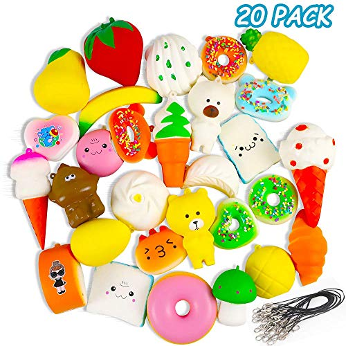 POKONBOY Mini Squishies Squishy Toys - 20 Pack Mini Cute Cream Scented Food Squishies Slow Rising for Kids Easter Egg Fillers Stress Relief Squishy Toys Party Favors (Random)