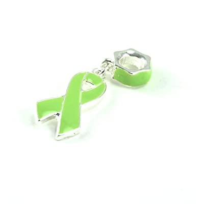 Lime Green Awareness Dangle Charm Fits Pandora Style Bracelets: Jewelry