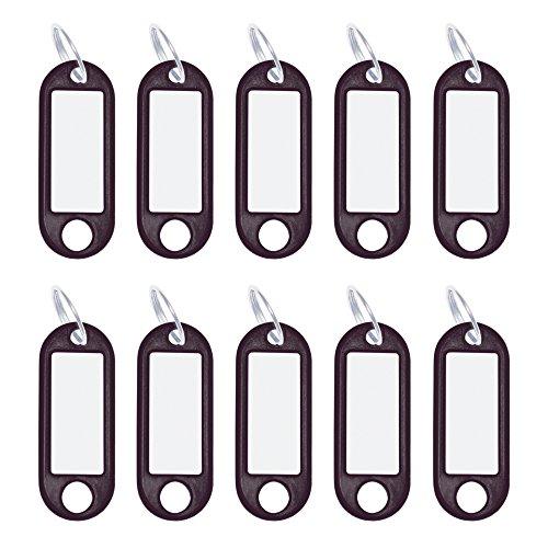 Wedo 262101801 Schlüsselanhänger Kunststoff mit Ring, auswechselbare Etiketten, 10 Stück, schwarz