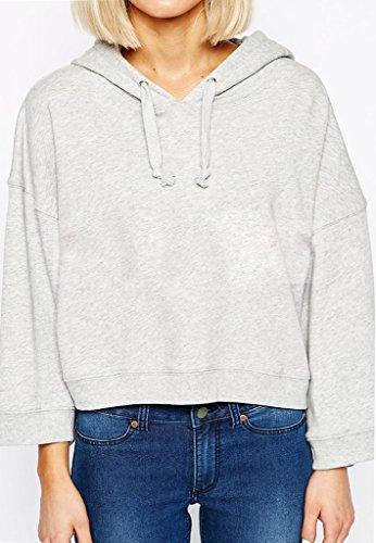 Minetom Mujer Camiseta Manga Larga Con Capucha Sudaderas Camisa Blusa T-shirt Blouses Pullover Gris