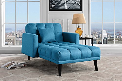 Modern Linen Fabric Recliner Sleeper Chaise Lounge - Futon Sleeper Single Seater with Nailhead Trim (Sky Blue) - Blue Fabric Recliner