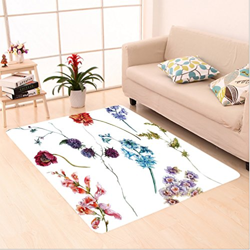 Nalahome Custom carpet wer Decor Watercolor Wildflowers Leaves Daisies Lavenders with Spring Branches Garden Multicolor area rugs for Living Dining Room Bedroom Hallway Office Carpet (2' X - Wildflower Ironman