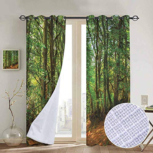 - NUOMANAN Blackout Curtains for Bedroom Woodland,Woodland Scene with Trees and Pathway Foliage Trunk Greenery Outdoor Picture, Green Brown,Darkening Grommet Window Curtain-1 Pair 52