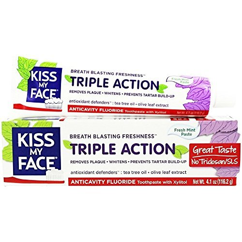 Face Toothpaste (Kiss My Face Triple Action Fresh Mint Anticavity Fluoride Toothpaste, 4.1 oz (Pack of 2))