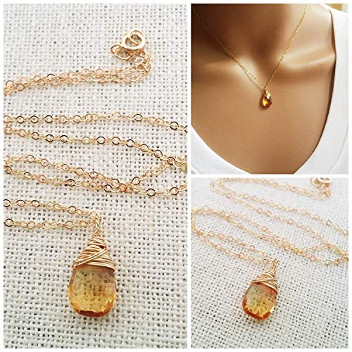 November Birthstone Yellow Citrine Necklace -14k Gold Filled Briolette Teardrop Jewelry - Gift for Her (Necklace Citrine 14k)