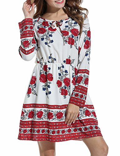 Zeagoo Women's Western Style Embroidered Long Sleeve Floral Casual Mexican Fall Floral Dress (Small, White) (Floral Style Dress)