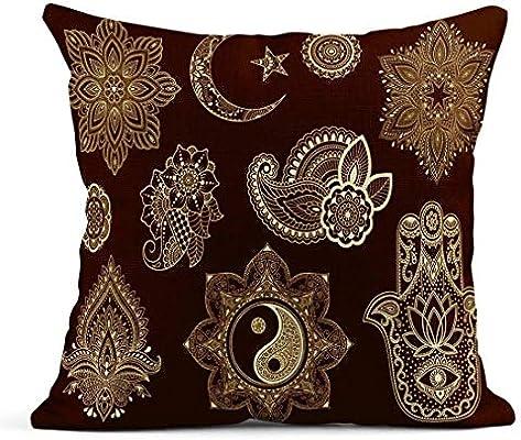 Kinhevao Cojín Big of Mehndi Flower Pattern Mandala Star y ...