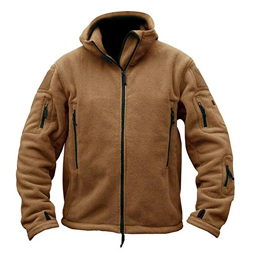 (ReFire Gear Mens Warm Military Tactical Sport Fleece Hoodie Jacket,XX-Large,Khaki)