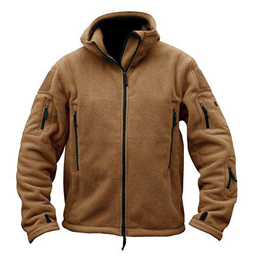 ReFire Gear Mens Warm Military Tactical Sport Fleece Hoodie Jacket,XX-Large,Khaki