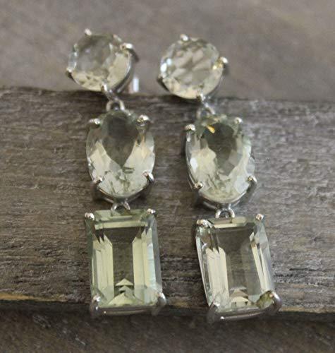 Green Amethyst Sterling Silver Long Post Earrings