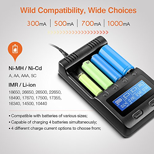 LCD Display Speedy Universal Battery Charger with Car Adapter, Zanflare C4 Smart Charger for Rechargeable Batteries Ni-MH Ni-Cd A AA AAA SC, Li-ion 18650 26650 26500 22650 18490 17670 17500 17355 - vapecentral.us