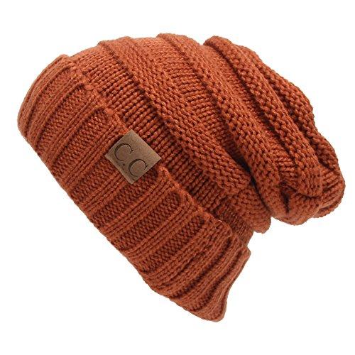 Winter Hats Women Cap Crochet Knit Thermal Slouchy Beanie Hat / Rust Red