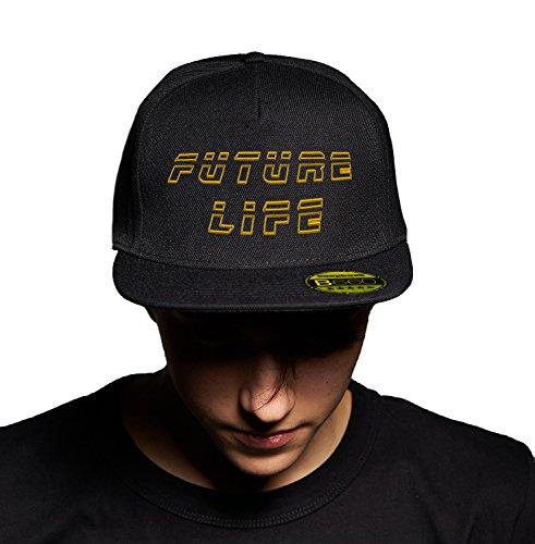 Future Life Golden Black Cap Original Gorra Snapback Unisex, Ajustable, con Visera Plana y Logotipo Urbano Bordado.