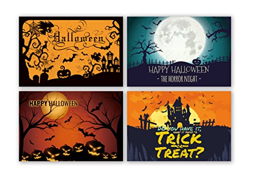 Lown Design 4 Design Total 32 Chalkboard Note Cards Happy Halloween Blank Greeting Cards White Envelopes Included