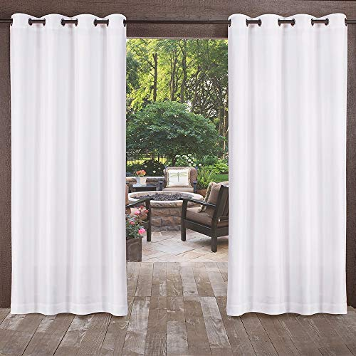 Exclusive Home Biscayne Indoor/Outdoor Two Tone Textured Grommet Top Curtain Panel Pair, Winter White, 54×108, 2 Piece