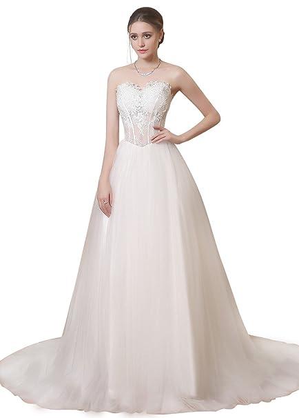 Adasbridal-Increible vestidos de novia de tul de escote corazon de A- linea