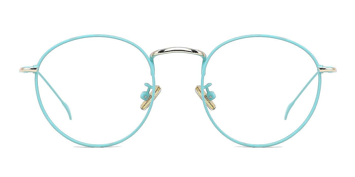 TIJN Retro Damen Brille Runde Dünn Metall Brille Rahmen Ohne Stärke ...