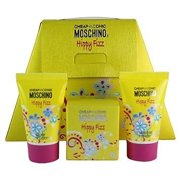 Moschino Happy Fizz Mini Set for Women .15 oz EDT Splash .8 oz BL .8 oz Bath Shower Gel