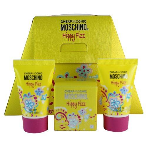 Moschino Happy Fizz Mini Set for Women: .15 oz EDT Splash+.8 oz BL+.8 oz Bath&Shower Gel