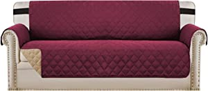 "Reversible Sofa Slipcover Quilted Furniture Protector with 2"" Elastic Strap Water Resistant Sofa Covers Seat Width Up to 78"" Slipcover Protect from Dogs (Oversized Sofa, Burgundy/Tan)"
