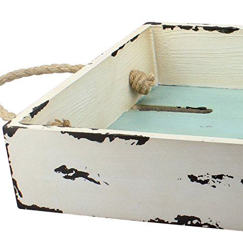 Stonebriar Rectangular Worn White Slotted Wood Serving Tray with Nautical Rope Handles