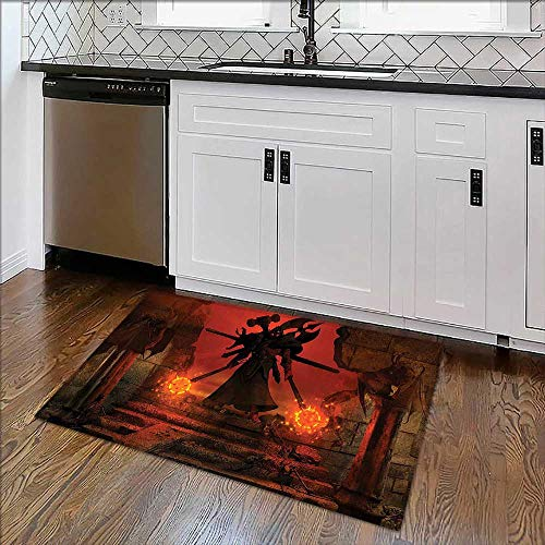 Extra Thick Comfortable Rug Barbarian Evil Demonic Character Fictional Video Game Person Scary Artsy Graphic Red Garage - Durable