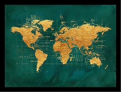 Framed world map gold foil by beth albert 16x12 art print poster framed world map gold foil by beth albert 16x12 art print poster world map gold green gumiabroncs Images