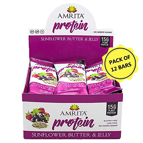 Amrita Foods - Top 14 Allergy Free, Sunflower Butter and Jelly Protein Bar, Pack of 12, No Added Sugar (Bars Sunbutter Crunch)