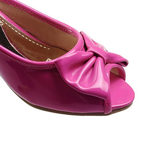 AllhqFashion Womens Toe Rosered Leather Patent Sandals Solid Pull on Peep Low Heels rrqOdR