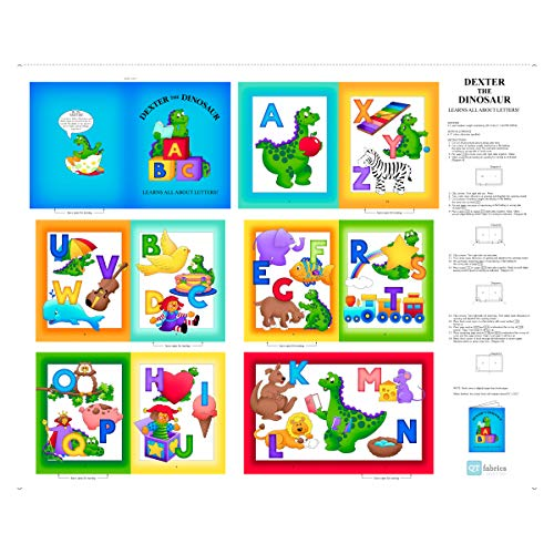 QT Fabrics Sew N Go VII Dexter The Dinosaur Learns About Letters Book 36'' Panel Multi Cotton Fabric Book Panel